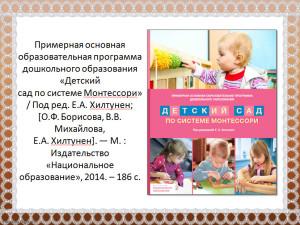 Программа Детский сад по системе Монтессори